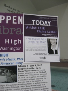 Flyer for Artist Talk at Harold Washington Library.