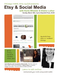 Flyer for an event with the Chicago Metal Arts Guild, with Elaine Luther speaking on social media for artists.