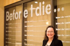 Elaine Luther with Before I Die Wall at SEA 2015