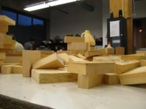 Wood blocks for sculpture, Women Artists Who Rock class, at Marwen, 2012.
