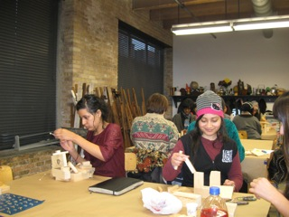 "Wood sculpture making in the class, ""Women Artists Who Rock!"" at Marwen."