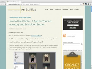 Guest Post: iPhoto as Inventory Software + more! at Art Biz