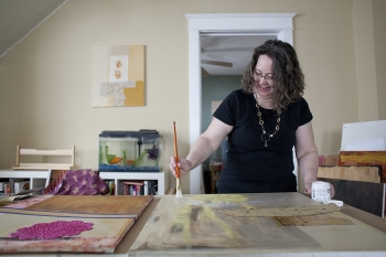 Elaine Luther in her studio, photo by David Pierini, courtesy the Forest Park Review
