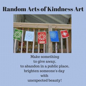 Graphic for Random Acts of Kindness Art with Kirigami Prayer Flags by Elaine Luther