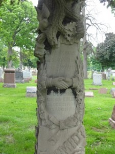 Headstone with Hands, photo by Elaine Luther