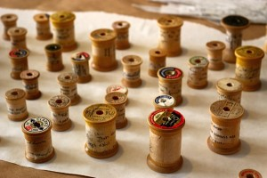 Wooden Spools with Text by Elaine Luther Copyright 2015