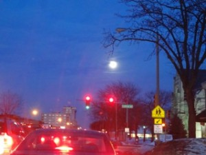 Red Light and Moon Copyright Elaine Luther 2015