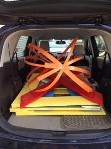 Here are the 4' wooden letters loaded in the car, ready to deliver! Elaine Luther, art installation
