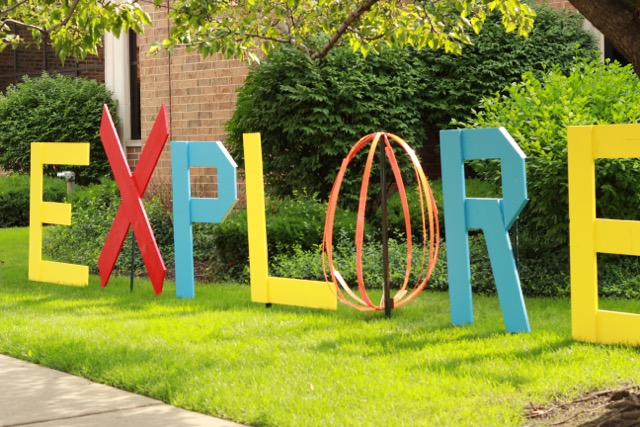 EXPLORE installation by Elaine Luther at the Forest Park Public Library, blank canvas ready for public participation!