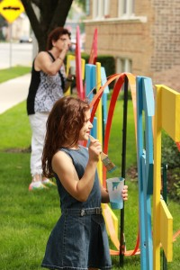 Library Patrons Paint 4' Wooden Letters - Elaine Luther art installation