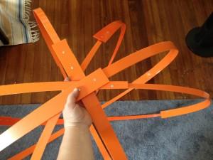 Orange O begins to take shape. Elaine Luther, art installation