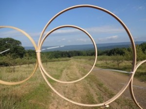 Hoops in front of landscape, Copyright Elaine Luther 2015
