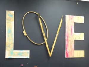 LOVE installation, copyright Elaine Luther 2015, at Zenith Art Studios