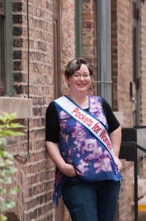Elaine Luther wearing Pockets for Women! sash.