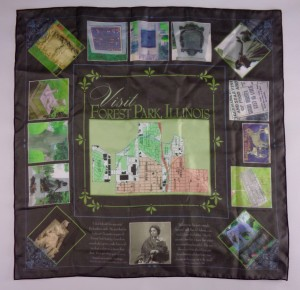 Famous Headstones of Forest Park Scarf by Elaine Luther, Copyright 2016 Elaine Luther