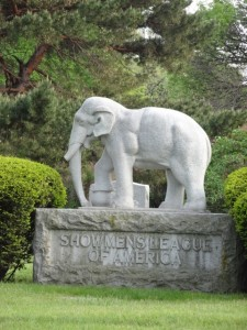 Elephant Monument for Showmans Rest at Woodlawn Cemetery, Forest Park, IL