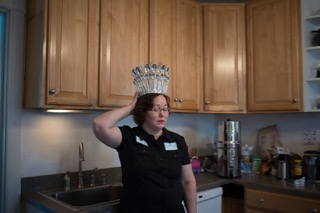 The artist, wearing her Spoon Crown, copyright Elaine Luther 2015