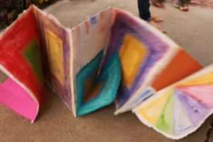 Hopscotch unfolds, installation piece by Betsy Zecsek