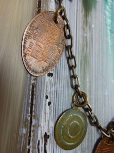 """""""Oh, the Places You'll Go"""" Necklace by Elaine Luther, copyright Elaine Luther 2016.  Detail."""