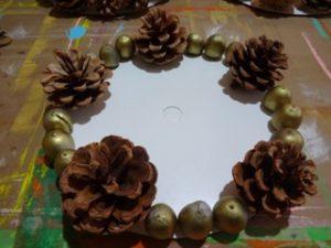 Centerpiece with acorns in progress.
