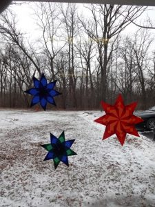 Origami Window Stars Group of 3