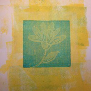 Sample Gelli Print, glued down to sketchbook, by Elaine Luther