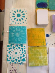 Sample Gelli Prints, made with Golden Open Acrylics.