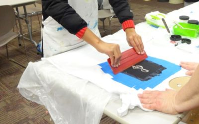 You Can Print T-shirts Using Sticky Backed Stencils Cut with the Silhouette