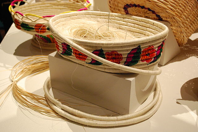 Coil basket in progress; from the state of Hidalgo, Mexico.