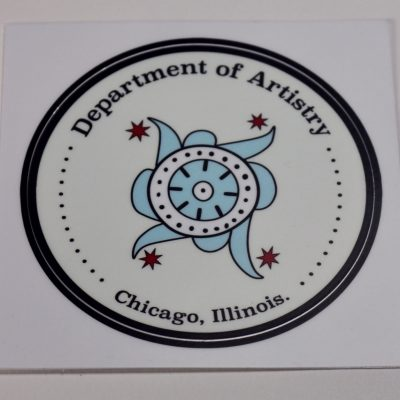 "3"" Round vinyl sticker says ""Department of Artistry, Chicago, Illinois"" and has a design in the center in the colors of the Chicago flag."