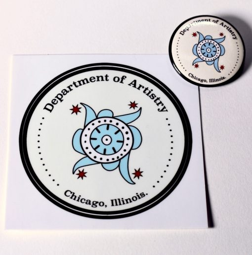 Department of Artistry - Chicago - Sticker and Button by Elaine Luther