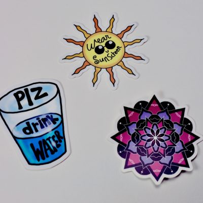 Self-care Sticker Set by Maria Romero Luther; Plz Drink Water, Wear Sunscreen, Mandala