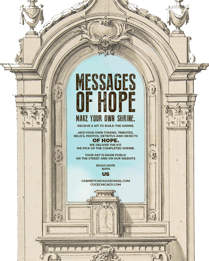 Flyer for the Messages of Hope show by Cabinet of Curiosities