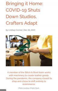 """""""Bringing it Home, Covid-19 Shuts Down Studios,"""" article on the website of the Craft Industry Alliance."""