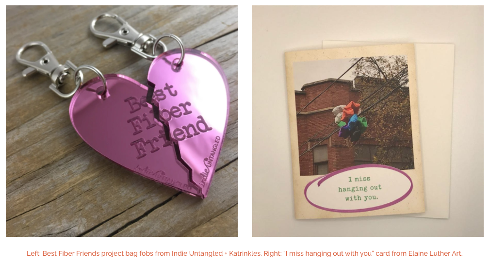 Screenshot showing keychain by Katrinkles and Greeting Card by Elaine Luther/Totally Legit Card Co.