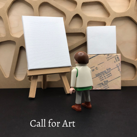 Call for Art: A Play Mobil Person Looks at a Blank Canvas on an Easel.