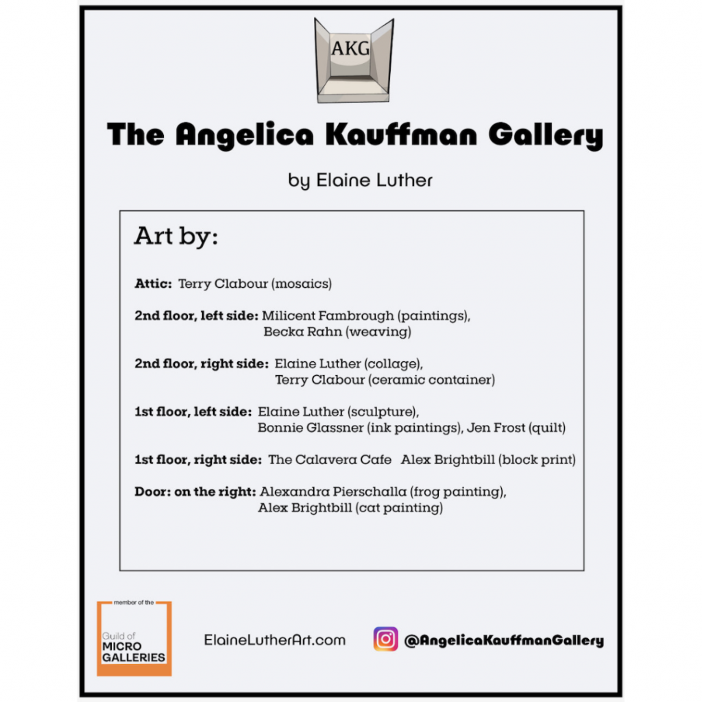 a poster for the Angelica Kauffman Dollhouse Gallery lists the names of artists and which artwork is theirs.
