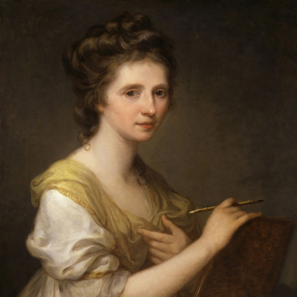 A well dressed woman of the late 1700s holds a paint brush and looks confidently at the viewer.  Self-portrait of the artist, Angelica Kauffman, painted circa 1770-1775.