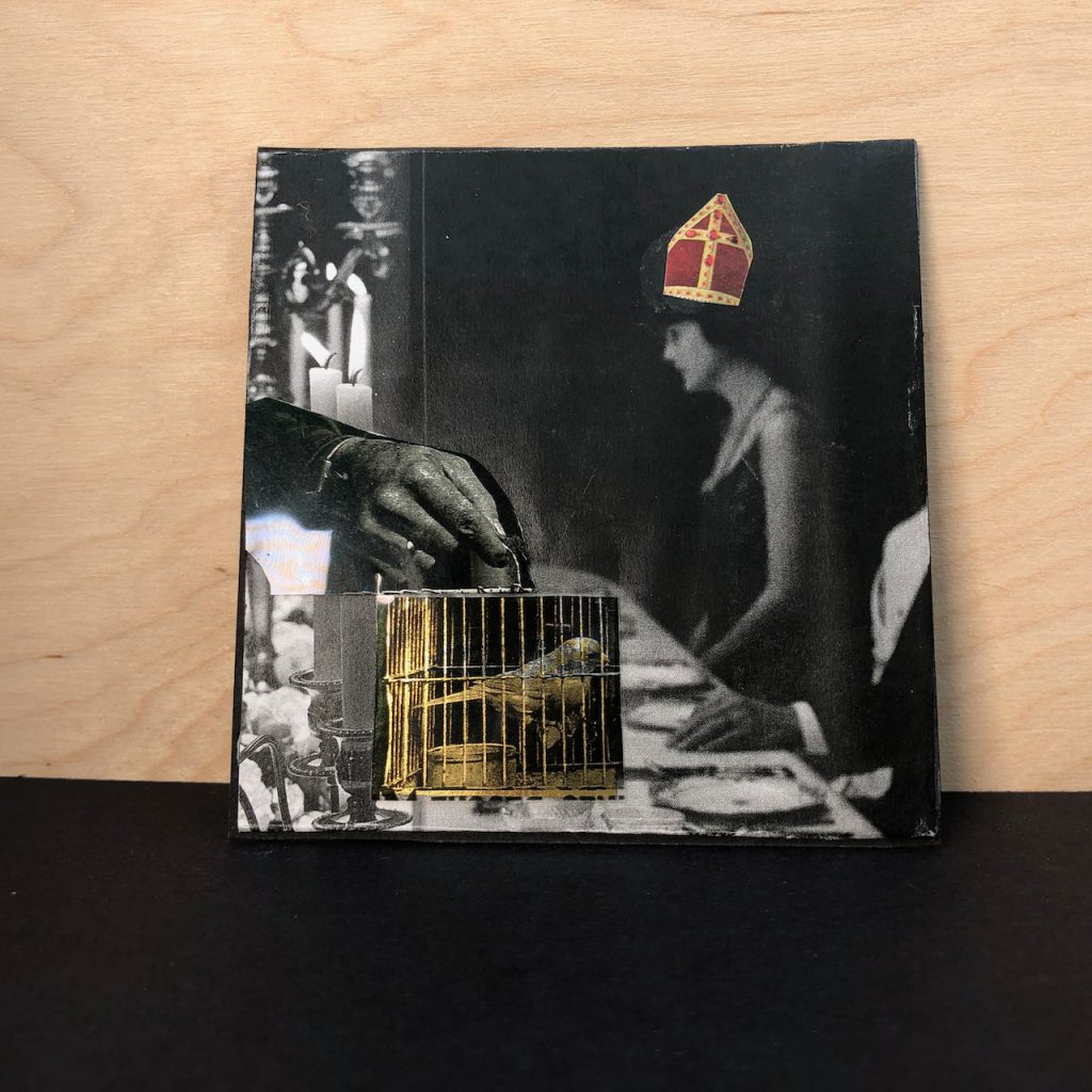 """Mostly black and white collage, """"Guilded Cage"""" by Susan Plover"""