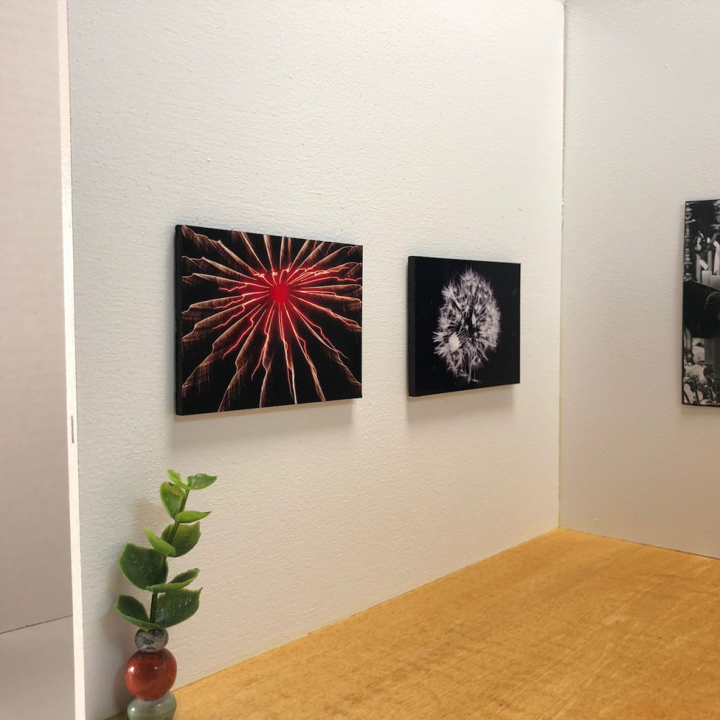 Photos by R. Romero as installed in a micro gallery.